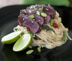 Seared ostrich in oyster sauce, red chilli and sesame seeds on bed of green curry asparagus egg noodles No Salt Recipes, Meat Recipes, Jamaican Recipes, Asian Recipes, Ostrich Meat, Asparagus Egg, Come Dine With Me, Dutch Oven Recipes, South African Recipes