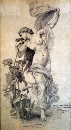 William Adolphe Bouguereau - L'aurore - Pencil on paper -  (1825-1905)