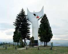 25 Abandoned Yugoslavian Monuments built in the 1960s-70s, the photographer toured around the ex-Yugoslavia region to find these sculptures with a 1975 map.   - by Kempenaers 2006-2009 , Zenica