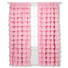 Ruffle Curtain Panel 55x84 Pink - Sheringham Road
