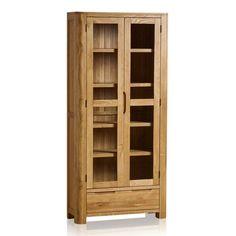 Romsey Display Cabinet in Natural Solid Oak Oak Shelves, Storage Shelves, Tall Cabinet Storage, Oak Display Cabinet, Wood Display, Solid Oak Coffee Table, Oak Furniture Land, Buy Chair, Light Oak