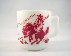 Vintage 1950s Hazel Atlas Milkglass Cowboys and Indians