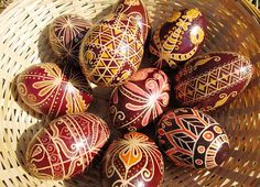 Fantasy Pysanky Egg, Easter Ornaments Decorations, Traditional Handmade Decorative Red Eggs, Floral Tulip Motif, with Wax Drawing and Dye