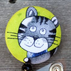 Name badge fabric covered badge reels gray kitty by debsdesigns401, $7.50