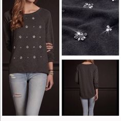 New Hollister 1000 Steps Jewelry Grey Sweater Super soft, pretty shine details with seagull embroidery at left sleeve, hi lo hem, easy fit, imported. Material: 60% cotton/40% polyester. Let me know which size you would like!! Hollister Tops