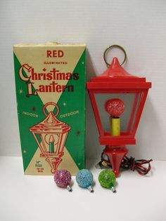 Vintage Christmas Lantern Decoration Wall Hanging by gathersalot Vintage Christmas Lights, Christmas Light Bulbs, Christmas Lanterns, Vintage Ornaments, Retro Christmas, Vintage Holiday, Christmas Decorations, Christmas In Heaven, Christmas Past