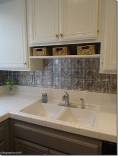 Two Toned Kitchen Makeover...shelf since there's no room for a microwave above the stove?  What about that backsplash?