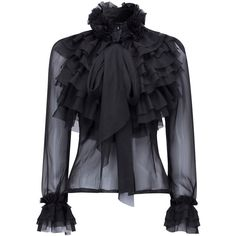 Black High Neck Bow Tie Front Layered Ruffle Sheer Shirt (€31) ❤ liked on Polyvore featuring tops, blouses, shirts, long blouse, flower shirt, high-neck blouses, bow tie shirt and ruffle blouse