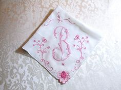 Madeira Handkerchief Monogram B Initial by VintageLinens on Etsy