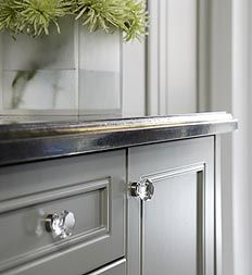 glass kitchen door handles utensil rack knobs gray cottage grey cabinets cabinet hardware drawer