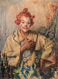 Willem Gerard Hofker (1902-1981).  A Clown, oil on canvas