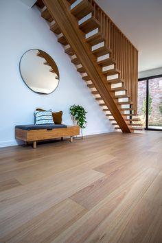 timber flooring Australian Oak Engineered Flooring in The Solway by Orbis Constructions. Engineered Timber Flooring, Timber Planks, Timber Boards, Timber Walls, Solid Wood Flooring, Real Wood Floors, Hardwood Floors, Interior Stairs, Staircase Design