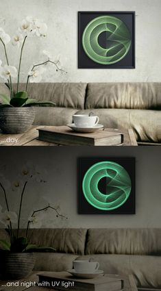 "Wall Decor, 3D Modern Abstract String Art, Black and Green, Framed 12,6""x12,6"" (32x32 cm), optional with special UV effect, ready to hang - pinned by pin4etsy.com"