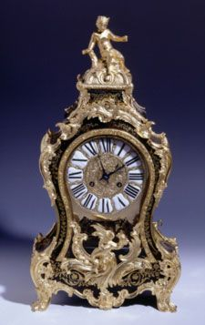 """Boulle clock with alarm, Loius XV style, circa 1750, Paris. Gilt bronze with crowned """"C"""", pendulum movement, strikes the hour and half hours on a bell."""