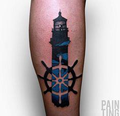 Lighthouse Tattoo Design by Szymon Gdowicz