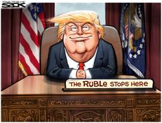 Political cartoon U.S. Donald Trump Russian Ruble