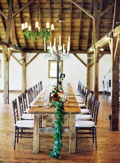 Romantic barn tablescape.