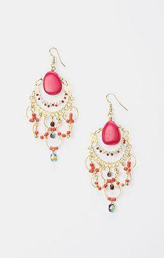 Fuchsia & Gold Beaded Chandelier Drop Earrings
