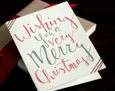 Wishing you a very Merry Christmas  letterpress by springolive, $5.00
