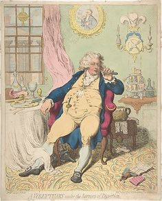 A Voluptuary Under the Horrors of Digestion  James Gillray  (British, Chelsea 1756–1815 London)  Publisher: Hannah Humphrey (London) Date: July 2, 1792 Medium: Hand-colored etching Dimensions: sheet: 14 3/8 x 11 9/16 in. (36.5 x 29.3 cm) Classification: Prints Credit Line: Gift of Adele S. Gollin, 1976 Accession Number: 1976.602.22
