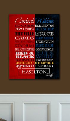 University of Louisville Cardinals University of Kentucky Wildcats House Divided Ready to Hang Standout