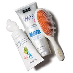First-Aid Kit for Dry and Frizzy Hair: Biolage Thermal-Active Repair Cream, John Frieda Frizz-Ease Smooth Start Shampoo & Conditioner, and a Mason Pearson All-Nylon Detangler Brush