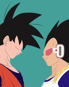 Goku and Vegeta (Dragon Ball) 8x10 Minimalist Art, Disney Printable, Digital Print