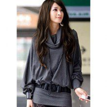 Stylish Cowl Neck Long Sleeves Batwing Solid Color Bodycon Cotton Blend Women's Dress, DEEP GRAY, ONE SIZE in Bodycon Dresses | DressLily.co...