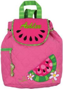 Love the colors in the #StephenJosephBackpack. She can carry the taste of summer with her when she goes back to school. Personalize with an embroidered name or initials. #QuiltedBackpack is $23.00. Embroidery is additional. Matching lunch box is available also.