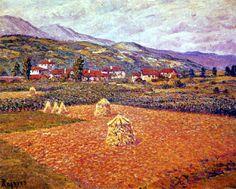 """""""Las Arenas, Vizcaya"""", 1908.  Óleo sobre lienzo de Darío de Regoyos (1857-1913), 46 x 55 cm."""