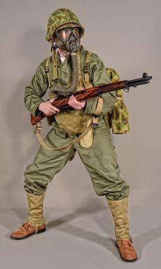 Military - uniform US soldiers WW2 USMC OD 01 #military #uniform #warfare #militaryuniform battledress #usmc #usa #ww2 #militaryhistory #history #gasmask #olivedrab #battle #dress #ww2 #us #soldiers #invasion #pacific #war