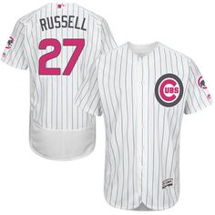 1c83d5684cb Cubs  27 Addison Russell White(Blue Strip) Flexbase Authentic Collection  Mother s Day Stitched