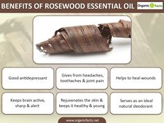 Rosewood essential oil is a good antidepressant gives relief from toothache headache and joint pain helps to heal wounds and serves as a natural deodorant. List Of Essential Oils, Young Living Essential Oils, Keeping Healthy, How To Stay Healthy, Essential Oil Aphrodisiac, Oil Benefits, Health Benefits, Rosewood Essential Oil, Natural Health Remedies