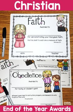 End of the Year Christian Awards and Graduation Certificates perfect for Christian/Catholic schools. Now comes in 2 different styles to better suit your needs. This is a cute set of editable Graduation Certificates with a Bible Verse. Numbers 6:24-26 (NIV) and Character Quality Awards with verses.