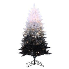 Add a decorative splash to your entryway, hallway or porch with the Vintage Black Ombre Spruce. The 5 ft. tree is pre-lit with 250 clear lights that bring an added warmth. This is a perfect sized tree for floor placement in any room of your home. Ombre Christmas Tree, Black Christmas Tree Decorations, Spruce Christmas Tree, Pre Lit Christmas Tree, Spruce Tree, Christmas Ideas, Christmas Mantles, Holiday Ideas, Vintage Christmas