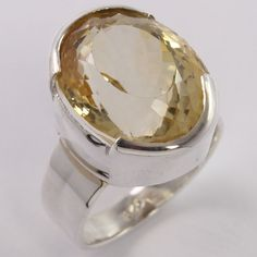 FREE SHIPPING 925 Sterling Silver Men's Ring Size US 6.25 Real CITRINE Oval Gems #Unbranded
