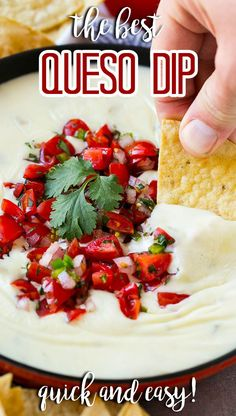 This Mexican white queso dip is a creamy and zesty cheese dip that contains just 3 ingredients and is ready in 5 minutes. Queso blanco is the perfect addition to any party menu!