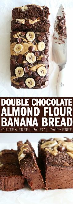 The best double chocolate banana bread recipe you'll ever need! Made with almond… The best double chocolate banana bread recipe you'll ever need! Made with almond flour, it's gluten free, dairy free, and paleo! Flours Banana Bread, Gluten Free Banana Bread, Banana Bread Recipes, Keto Bread, Banana Flour, Banana Almond Flour Muffins, Vegan Bread, Oat Flour, Coconut Flour Banana Bread