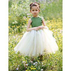 Ball Gown Jewel Tea-length Satin And Tulle Tutu Dress/Flower Girl Dress – USD $ 34.99