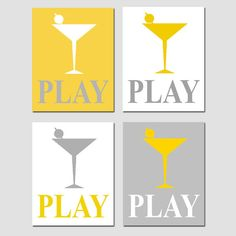PLAY  Set of Four 8 x 10 Modern Typography Prints with by Tessyla, $65.00