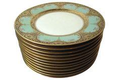 One Kings Lane - Dishing It Up - Bavarian Gold & Green Plates, S/12