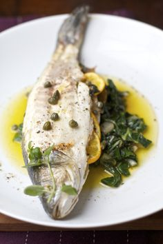 Roasted Branzino with Lemon, Oregano, and Capers (would love to try this fish recipe from Sass and Veracity!)
