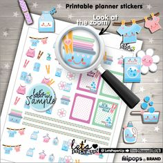 Laundry Stickers, Printable Planner Stickers, Kawaii Stickers, Basket Stickers, Hanger, Planner Accessorie, Clean Up Stickers, Chore Sticker