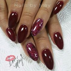 photo of acrylic nails by nailsby_may Perfect Nails, Gorgeous Nails, Pretty Nails, May Nails, Love Nails, Sparkle Nails, Glitter Nails, Burgundy Nails, Instagram Nails