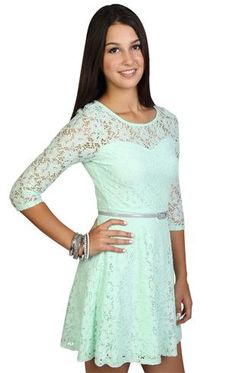 41 Birthday Party Mint Green Lace Dress Click Image to Close
