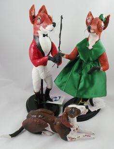 $325 Original Audrey Schulz Fox Family Sculpture Equestrian Foxhunt Hounds Equine