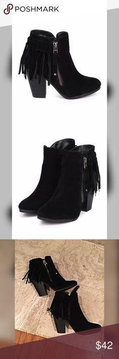 Spotted while shopping on Poshmark: Black faux suede fringe booties!! #poshmark #fashion #shopping #style #Shoes