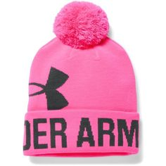 Under Armour Women's UA Graphic Pom Pom Beanie (346.610 IDR) ❤ liked on Polyvore featuring accessories, hats, pink punk, pom pom hat, beanie cap, under armour hat, beanie hat and oversized beanie hat