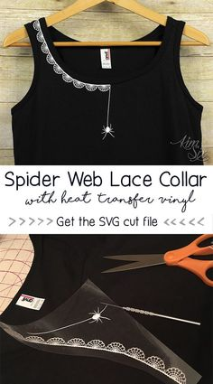 HTV Spiderweb Lace Collar On A Tank Top Spider Web Lace Collar Tank Top. Would be great at Halloween. She made it with glitter HTV on a tank top Diy Clothing, Sewing Clothes, Sewing Hacks, Sewing Projects, Embroidery Fashion, Silhouette Cameo Projects, Lace Collar, Diy Fashion, Sewing Patterns