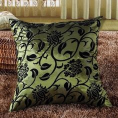 Vintage Flower Cushion Green Case Retro Floral Throw Pillow Cover for Sofa Bed Cheap Throw Pillows, Throw Pillow Cases, Floral Pillows, Decorative Pillows, Cushion Covers, Pillow Covers, Sofa Bed Price, Mlb, Lounge